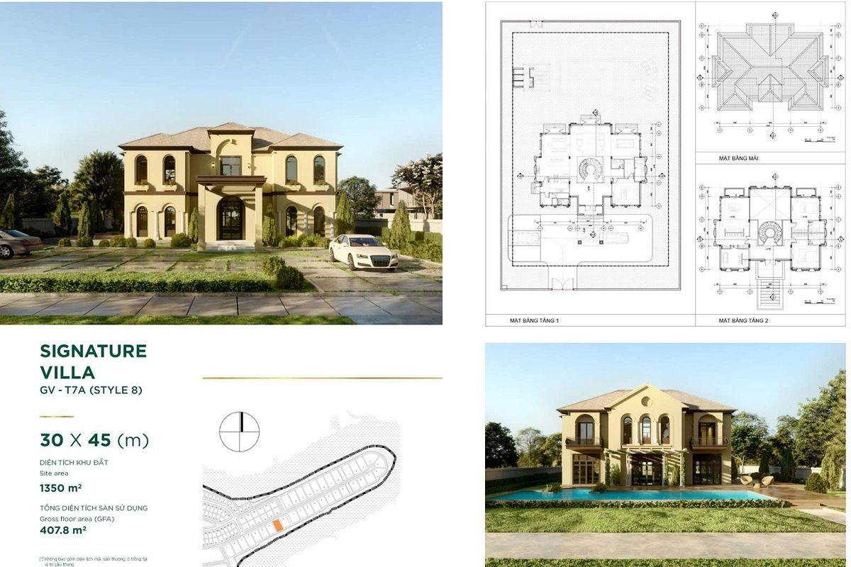 Thiết kế chi tiết Dinh thự diện tích 30x45m Style 8 dự án Aqua City