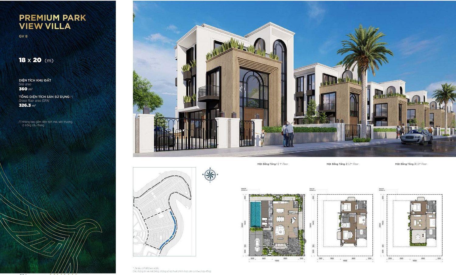 Thiết kế chi tiết biệt thự đơn lập diện tích 18x20m dự án Aqua City