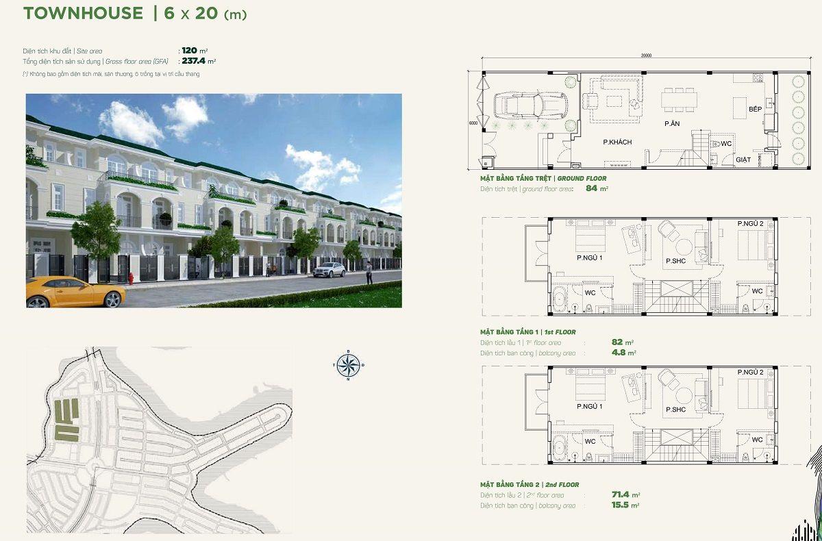 Thiết kế nhà phố liền kề 6x20 stella aqua city