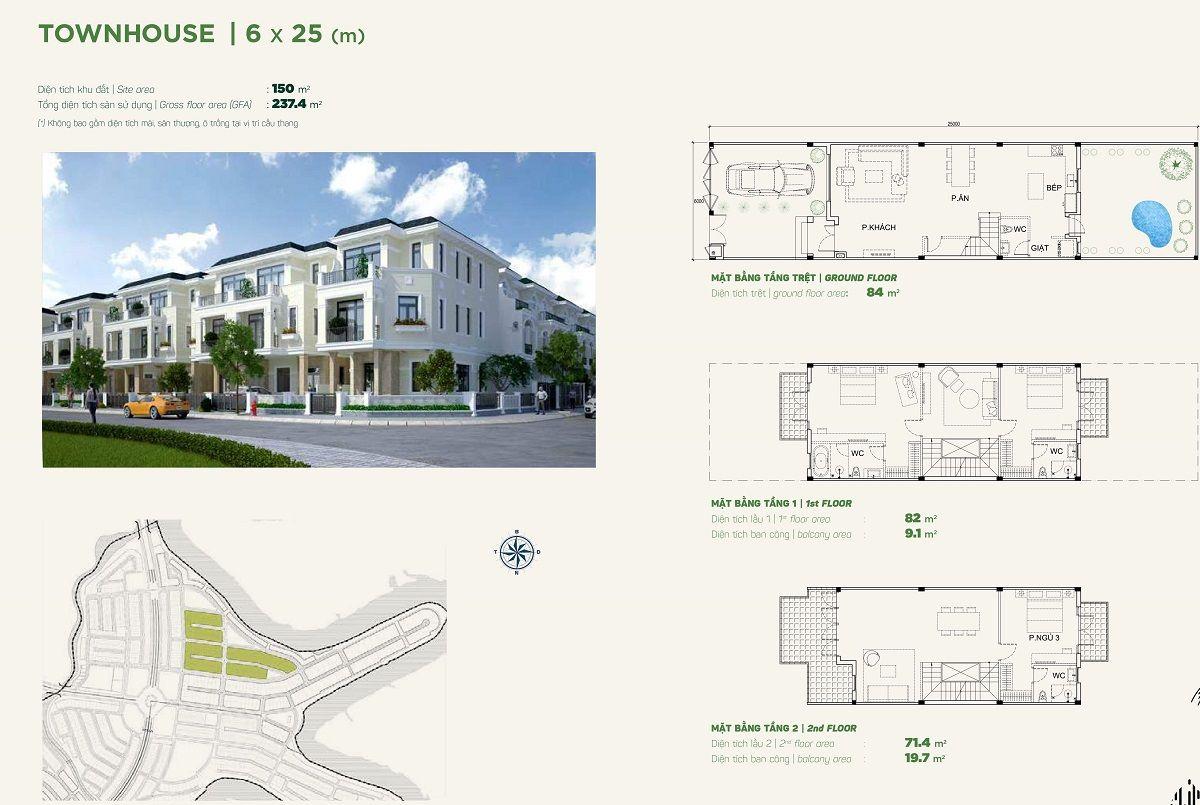 Thiết kế nhà phố liền kề 6x20 the stella