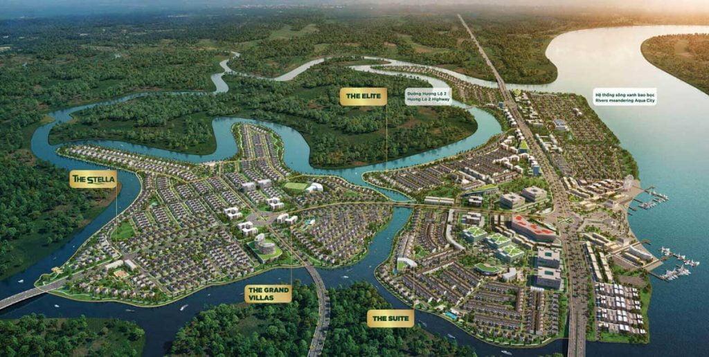 Vị trí phân khu The Suite trên mặt bằng tổng quan dự án Aqua City