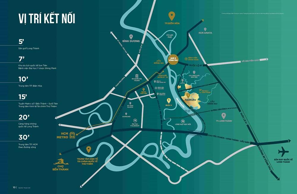 Vị trí nhà mẫu dự án Aqua City Đồng Nai
