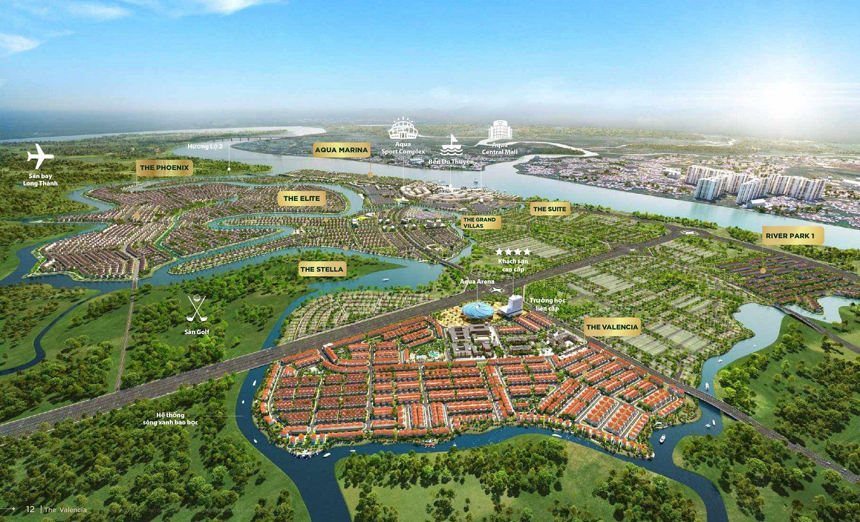 Vị trí phân khu Valencia trên mặt bằng tổng thể dự án Aqua City